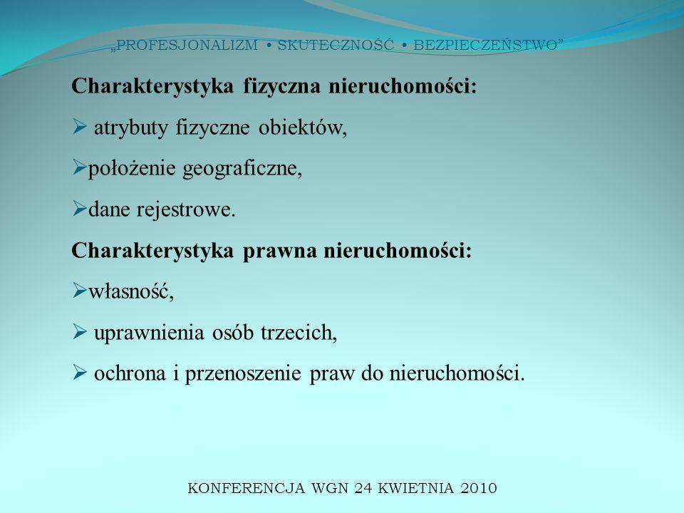 """""""PROFESJONALIZM SKUTECZNOŚĆ BEZPIECZEŃSTWO"""" KONFERENCJA WGN 24 KWIETNIA 2010 Charakterystyka fizyczna nieruchomości:  atrybuty fizyczne obiektów,  p"""