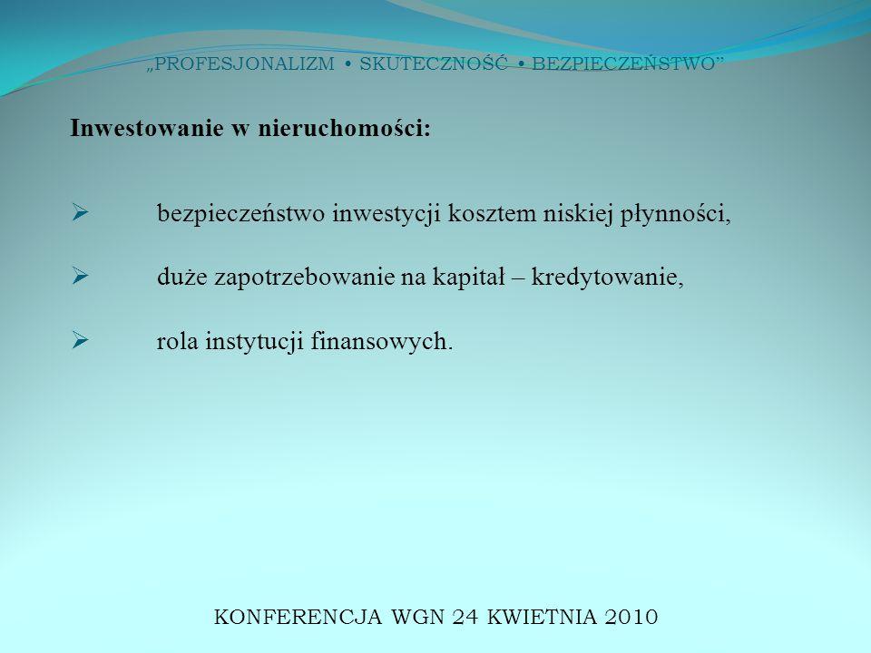 """"""" PROFESJONALIZM SKUTECZNOŚĆ BEZPIECZEŃSTWO NEGOCJOWANIE WARUNKÓW TRANSAKCJI KONFERENCJA WGN 24 KWIETNIA 2010"""