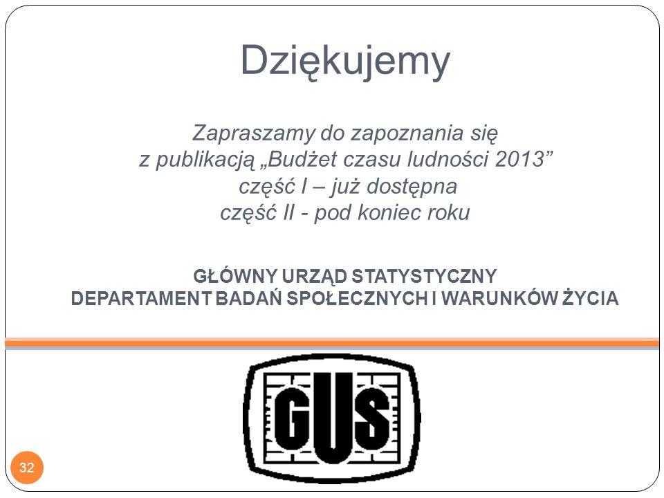 """Dziękujemy Zapraszamy do zapoznania się z publikacją """"Budżet czasu ludności 2013"""" część I – już dostępna część II - pod koniec roku GŁÓWNY URZĄD STATY"""