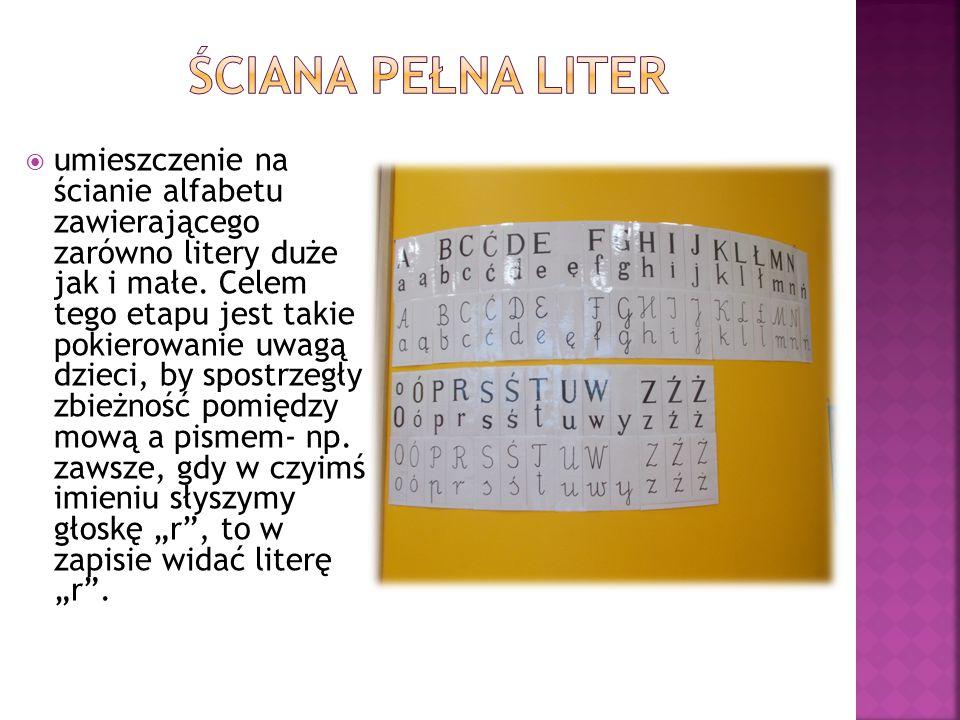  umieszczenie na ścianie alfabetu zawierającego zarówno litery duże jak i małe. Celem tego etapu jest takie pokierowanie uwagą dzieci, by spostrzegły
