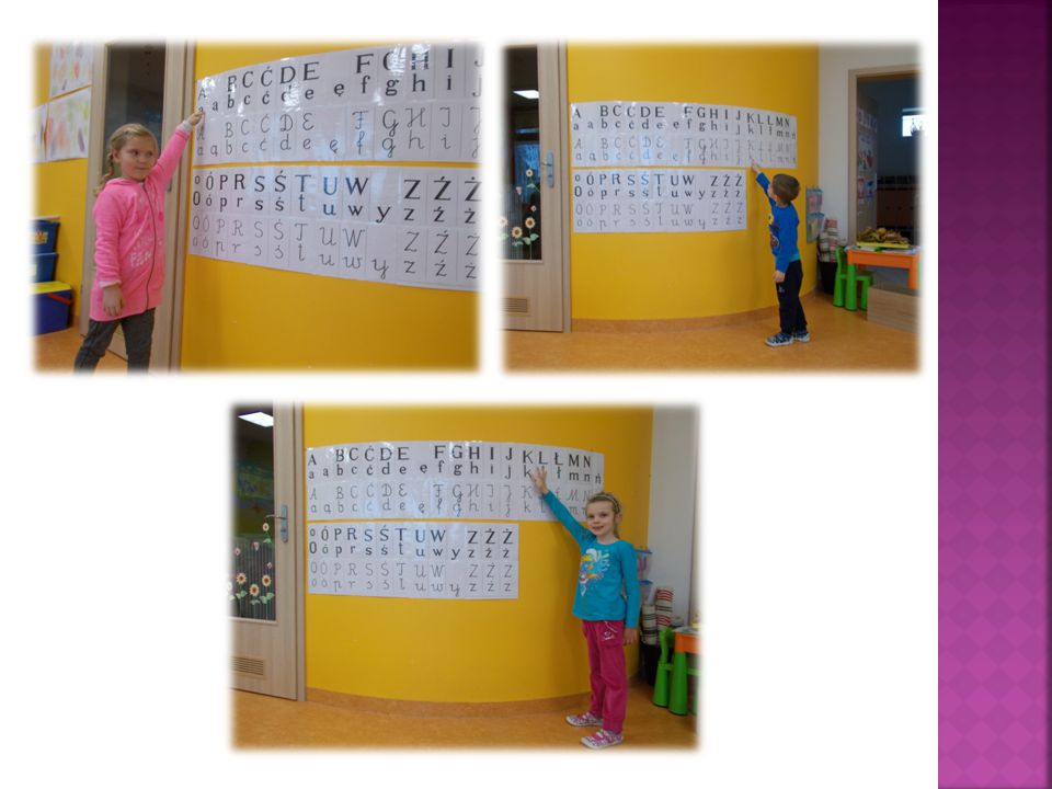  nauczyciel demonstruje i omawia kolejno litery alfabetu.
