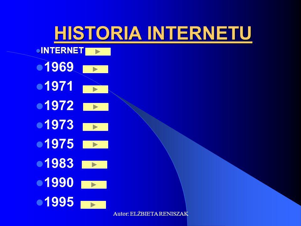 Autor: ELŻBIETA RENISZAK HISTORIA INTERNETU INTERNET INTERNET 1969 1971 1972 1973 1975 1983 1990 1995