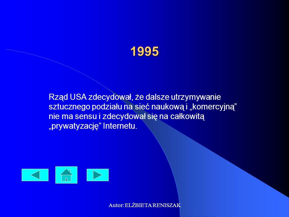 """Autor: ELŻBIETA RENISZAK 1995 Rząd USA zdecydował, że dalsze utrzymywanie sztucznego podziału na sieć naukową i """"komercyjną"""" nie ma sensu i zdecydował"""