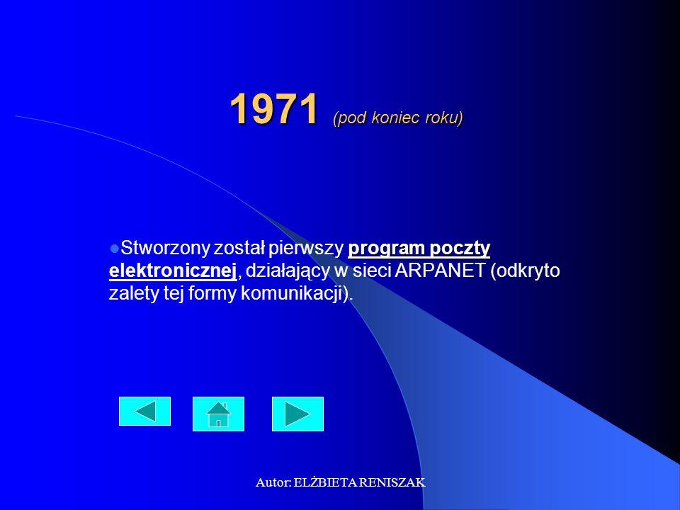 Autor: ELŻBIETA RENISZAK 1971 (pod koniec roku) program poczty Stworzony został pierwszy program poczty elektronicznej, działający w sieci ARPANET (odkryto zalety tej formy komunikacji).