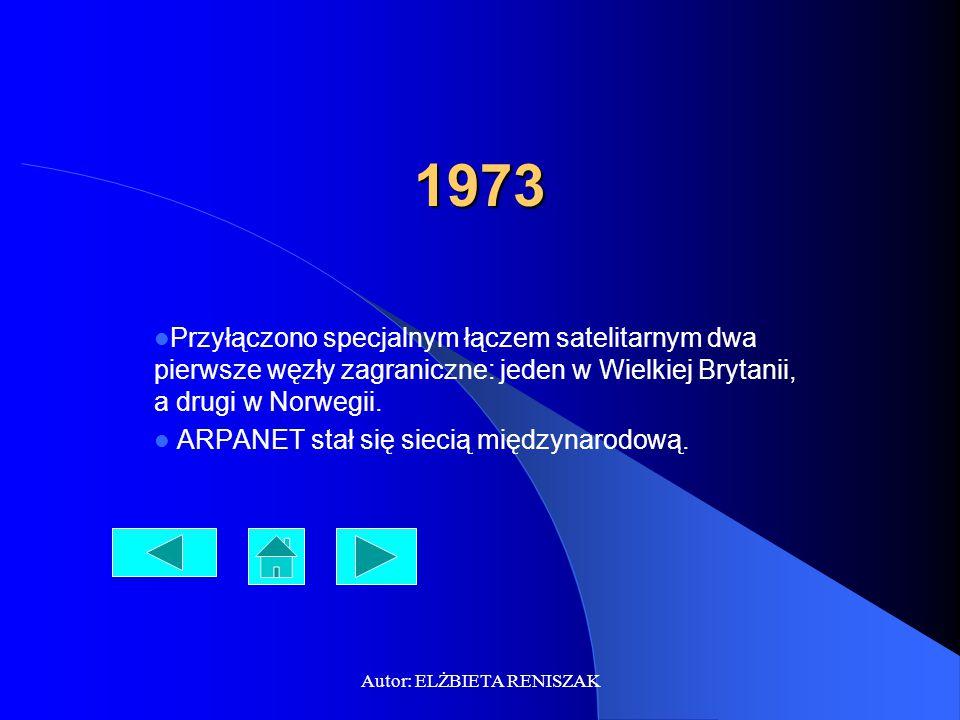 Autor: ELŻBIETA RENISZAK 1975 Kierownictwo ARPANET-u zmieniło status sieci z eksperymentalnego na użytkowy.