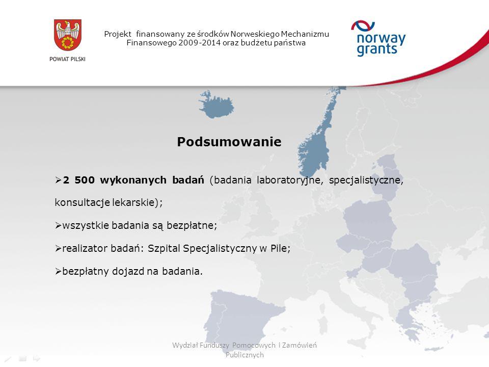 Projekt finansowany ze środków Norweskiego Mechanizmu Finansowego 2009-2014 oraz budżetu państwa Podsumowanie  2 500 wykonanych badań (badania laboratoryjne, specjalistyczne, konsultacje lekarskie);  wszystkie badania są bezpłatne;  realizator badań: Szpital Specjalistyczny w Pile;  bezpłatny dojazd na badania.
