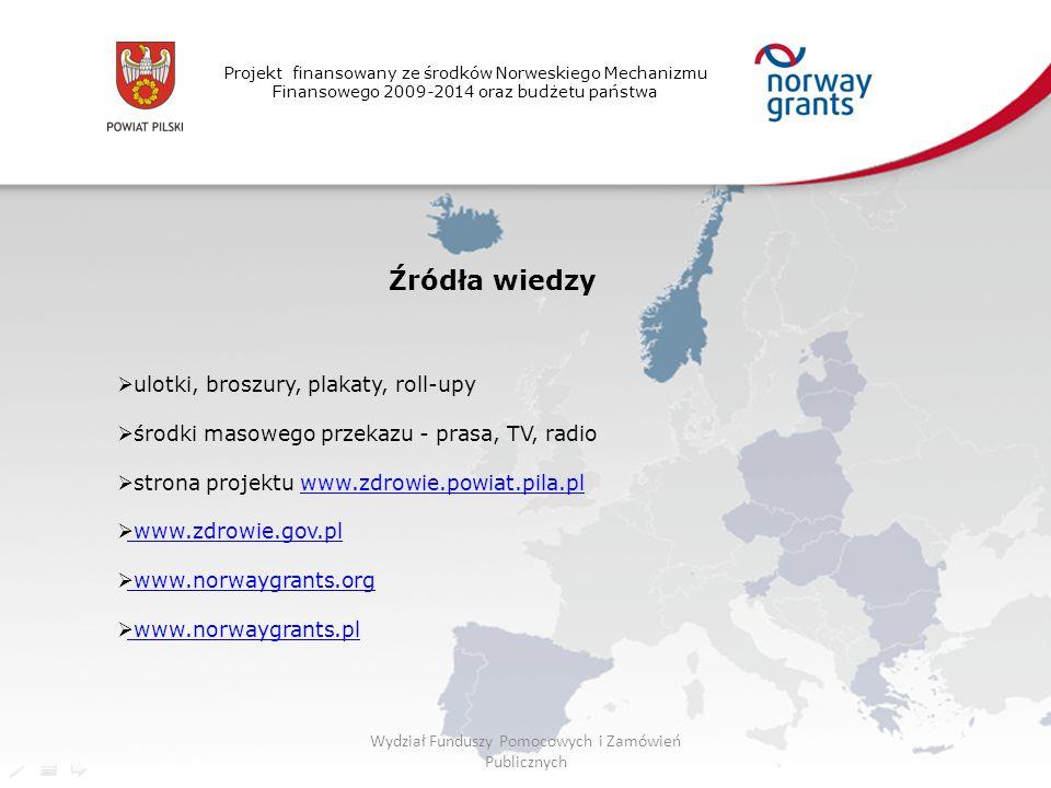 Projekt finansowany ze środków Norweskiego Mechanizmu Finansowego 2009-2014 oraz budżetu państwa Źródła wiedzy  ulotki, broszury, plakaty, roll-upy  środki masowego przekazu - prasa, TV, radio  strona projektu www.zdrowie.powiat.pila.plwww.zdrowie.powiat.pila.pl  www.zdrowie.gov.pl www.zdrowie.gov.pl  www.norwaygrants.org www.norwaygrants.org  www.norwaygrants.pl www.norwaygrants.pl Wydział Funduszy Pomocowych i Zamówień Publicznych