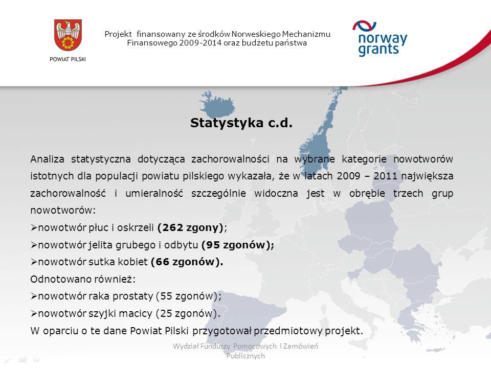 Projekt finansowany ze środków Norweskiego Mechanizmu Finansowego 2009-2014 oraz budżetu państwa Statystyka c.d. Analiza statystyczna dotycząca zachor