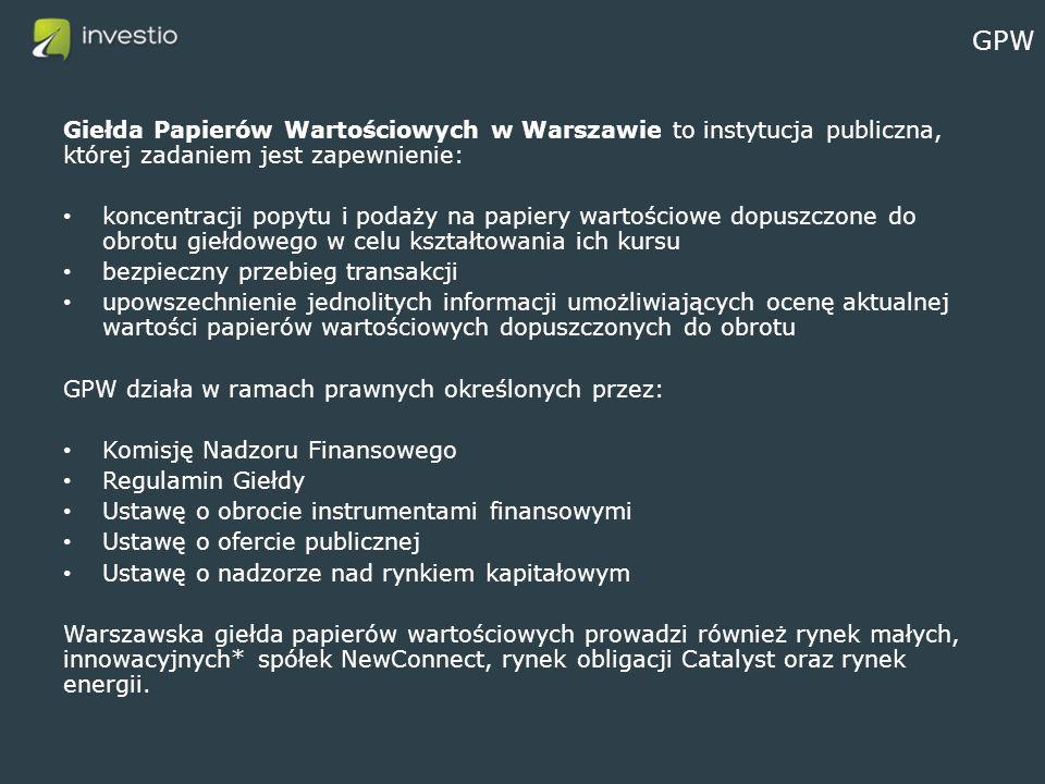 GPW Giełda Papierów Wartościowych w Warszawie to instytucja publiczna, której zadaniem jest zapewnienie: koncentracji popytu i podaży na papiery wartościowe dopuszczone do obrotu giełdowego w celu kształtowania ich kursu bezpieczny przebieg transakcji upowszechnienie jednolitych informacji umożliwiających ocenę aktualnej wartości papierów wartościowych dopuszczonych do obrotu GPW działa w ramach prawnych określonych przez: Komisję Nadzoru Finansowego Regulamin Giełdy Ustawę o obrocie instrumentami finansowymi Ustawę o ofercie publicznej Ustawę o nadzorze nad rynkiem kapitałowym Warszawska giełda papierów wartościowych prowadzi również rynek małych, innowacyjnych* spółek NewConnect, rynek obligacji Catalyst oraz rynek energii.