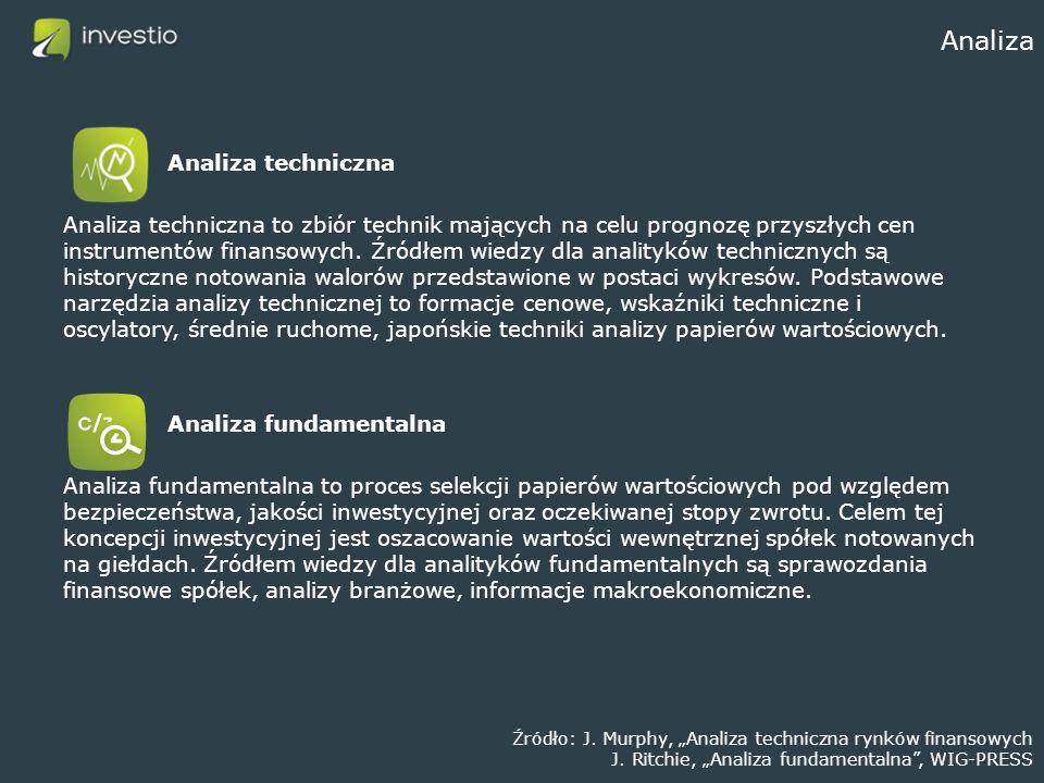Analiza Analiza techniczna Analiza techniczna to zbiór technik mających na celu prognozę przyszłych cen instrumentów finansowych. Źródłem wiedzy dla a