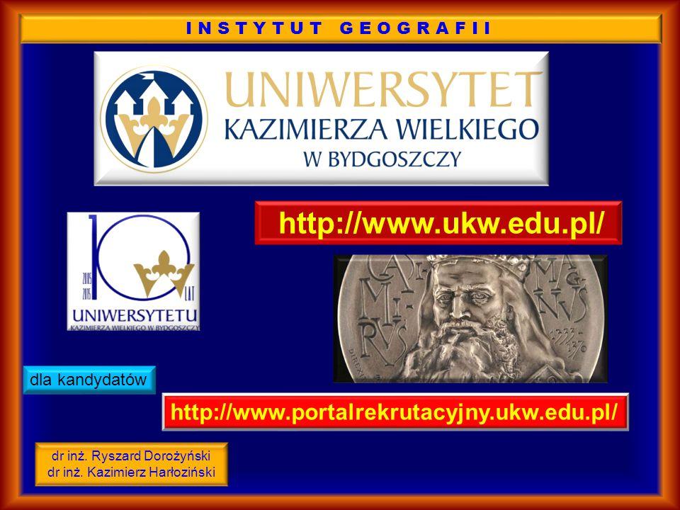 http://www.ukw.edu.pl/ http://www.portalrekrutacyjny.ukw.edu.pl/ dla kandydatów INSTYTUT GEOGRAFII dr inż.