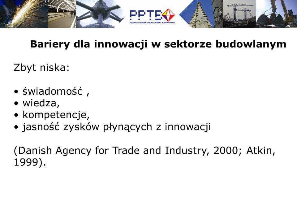 Zbyt niska: świadomość, wiedza, kompetencje, jasność zysków płynących z innowacji (Danish Agency for Trade and Industry, 2000; Atkin, 1999).