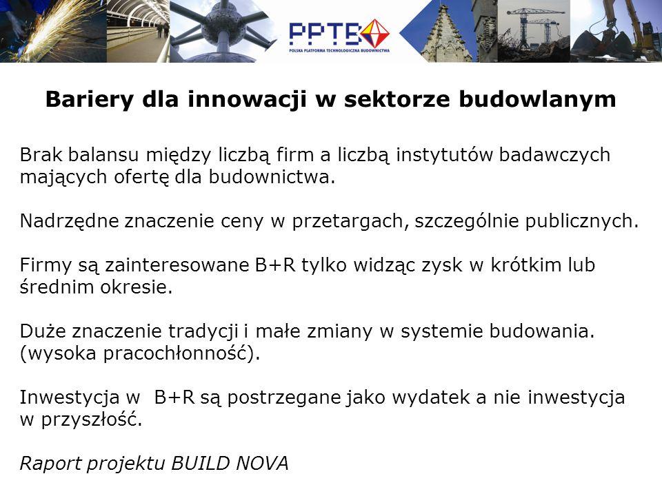 Brak balansu między liczbą firm a liczbą instytutów badawczych mających ofertę dla budownictwa.