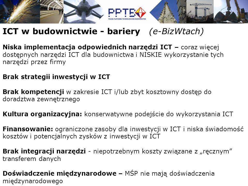 """ICT w budownictwie - bariery (e-BizWtach) Niska implementacja odpowiednich narzędzi ICT – coraz więcej dostępnych narzędzi ICT dla budownictwa i NISKIE wykorzystanie tych narzędzi przez firmy Brak strategii inwestycji w ICT Brak kompetencji w zakresie ICT i/lub zbyt kosztowny dostęp do doradztwa zewnętrznego Kultura organizacyjna: konserwatywne podejście do wykorzystania ICT Finansowanie: ograniczone zasoby dla inwestycji w ICT i niska świadomość kosztów i potencjalnych zysków z inwestycji w ICT Brak integracji narzędzi - niepotrzebnym koszty związane z """"ręcznym transferem danych Doświadczenie międzynarodowe – MŚP nie mają doświadczenia międzynarodowego"""