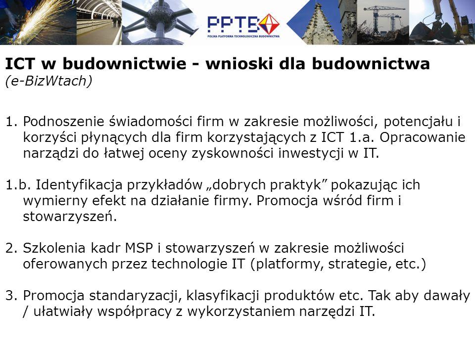 ICT w budownictwie - wnioski dla budownictwa (e-BizWtach) 1.Podnoszenie świadomości firm w zakresie możliwości, potencjału i korzyści płynących dla firm korzystających z ICT 1.a.