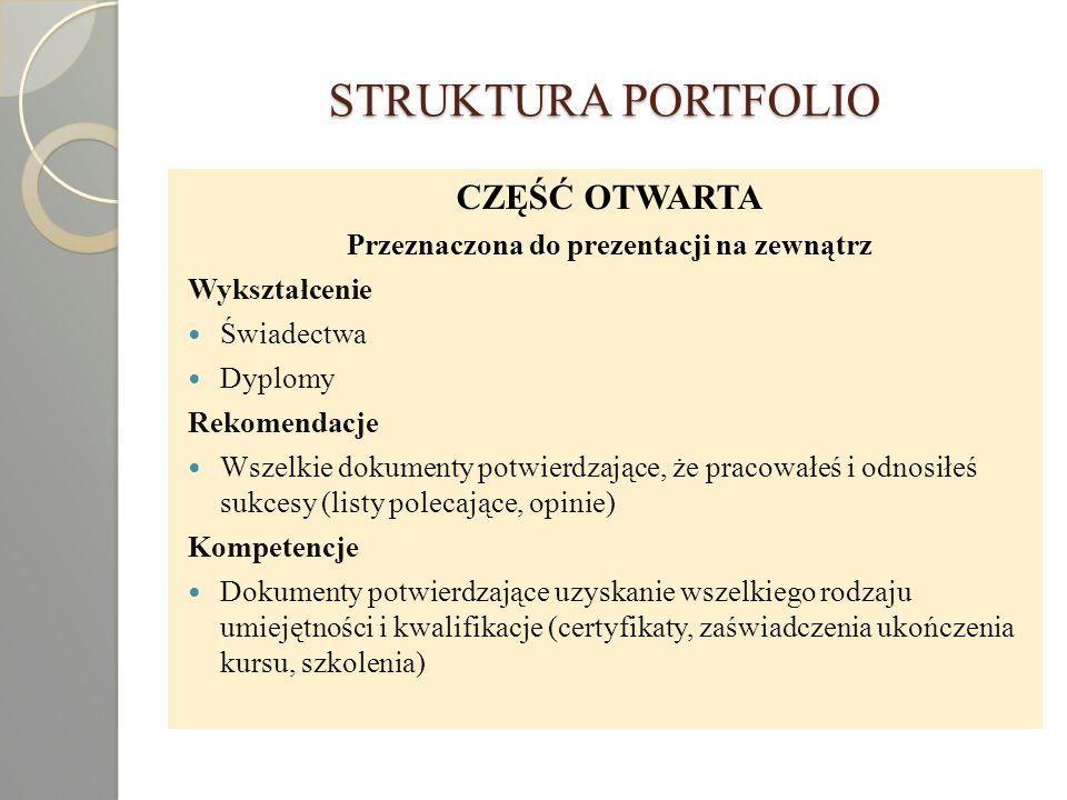 STRUKTURA PORTFOLIO CZĘŚĆ OTWARTA Przeznaczona do prezentacji na zewnątrz Wykształcenie Świadectwa Dyplomy Rekomendacje Wszelkie dokumenty potwierdzaj