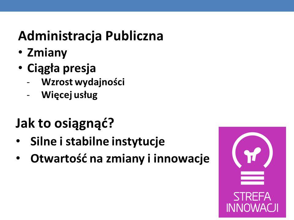 Jak to osiągnąć? Silne i stabilne instytucje Otwartość na zmiany i innowacje Administracja Publiczna Zmiany Ciągła presja -Wzrost wydajności -Więcej u