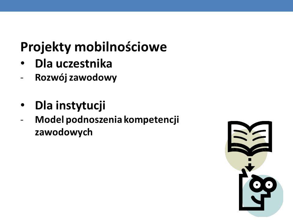 Projekty mobilnościowe Dla uczestnika -Rozwój zawodowy Dla instytucji -Model podnoszenia kompetencji zawodowych