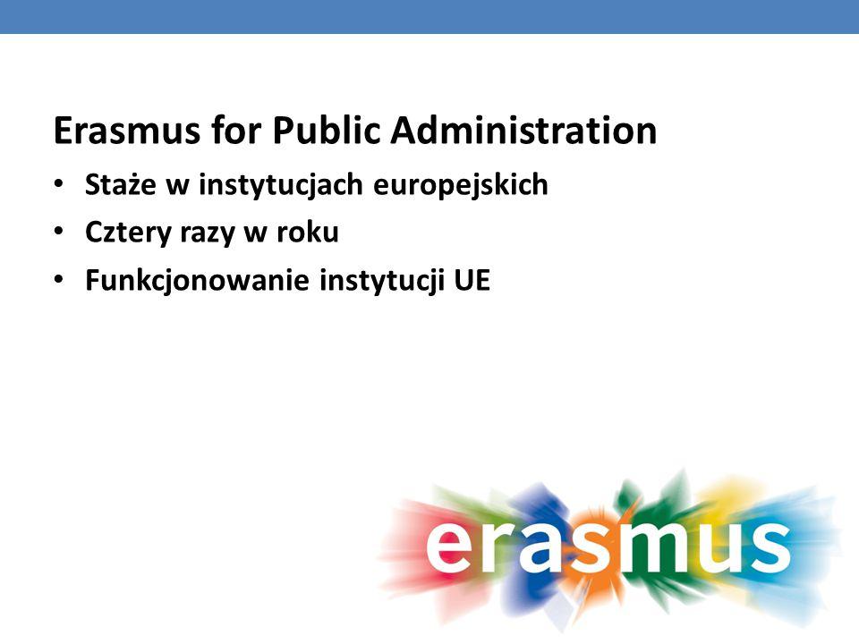 Erasmus for Public Administration Staże w instytucjach europejskich Cztery razy w roku Funkcjonowanie instytucji UE