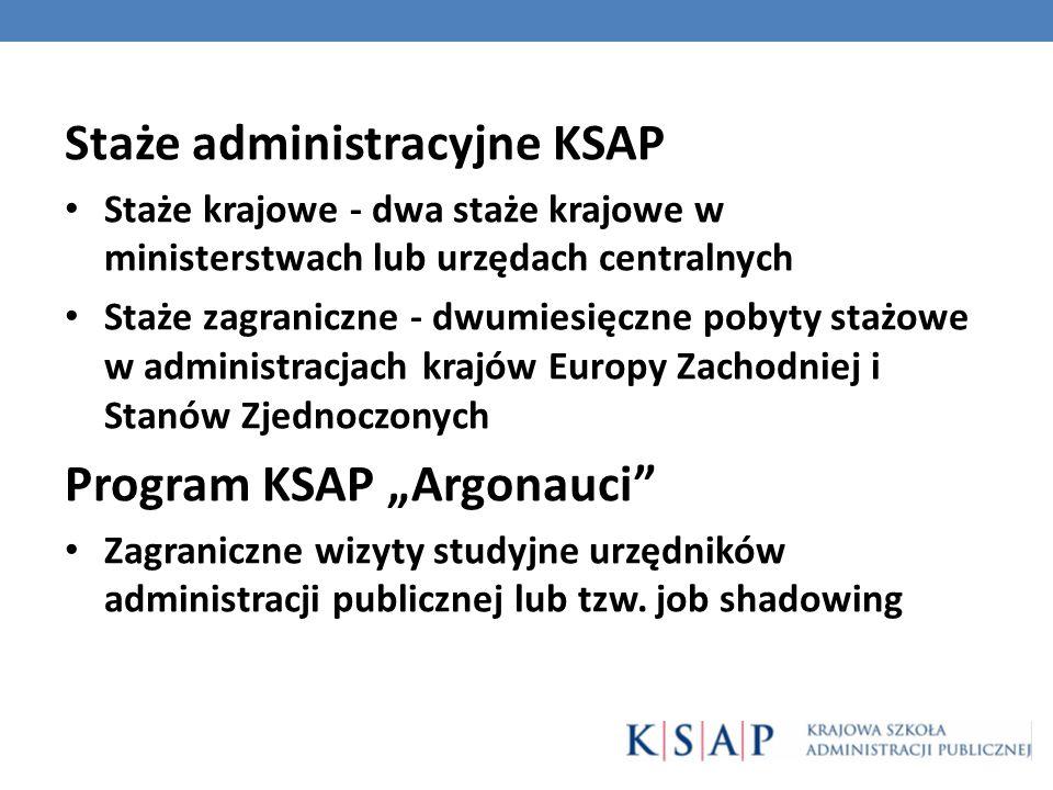 Staże administracyjne KSAP Staże krajowe - dwa staże krajowe w ministerstwach lub urzędach centralnych Staże zagraniczne - dwumiesięczne pobyty stażow