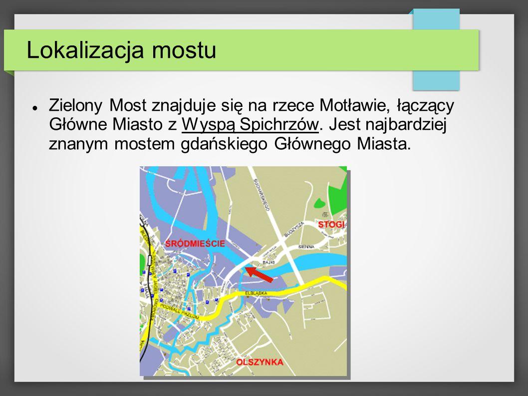 Lokalizacja mostu Zielony Most znajduje się na rzece Motławie, łączący Główne Miasto z Wyspą Spichrzów.