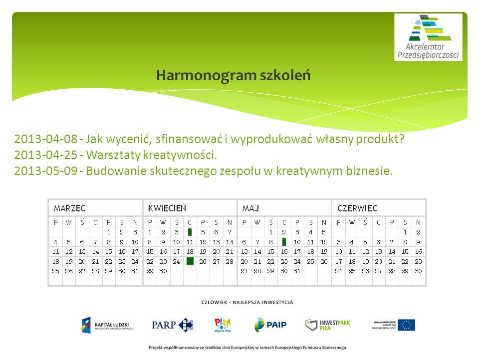 Harmonogram szkoleń 2013-04-08 - Jak wycenić, sfinansować i wyprodukować własny produkt.
