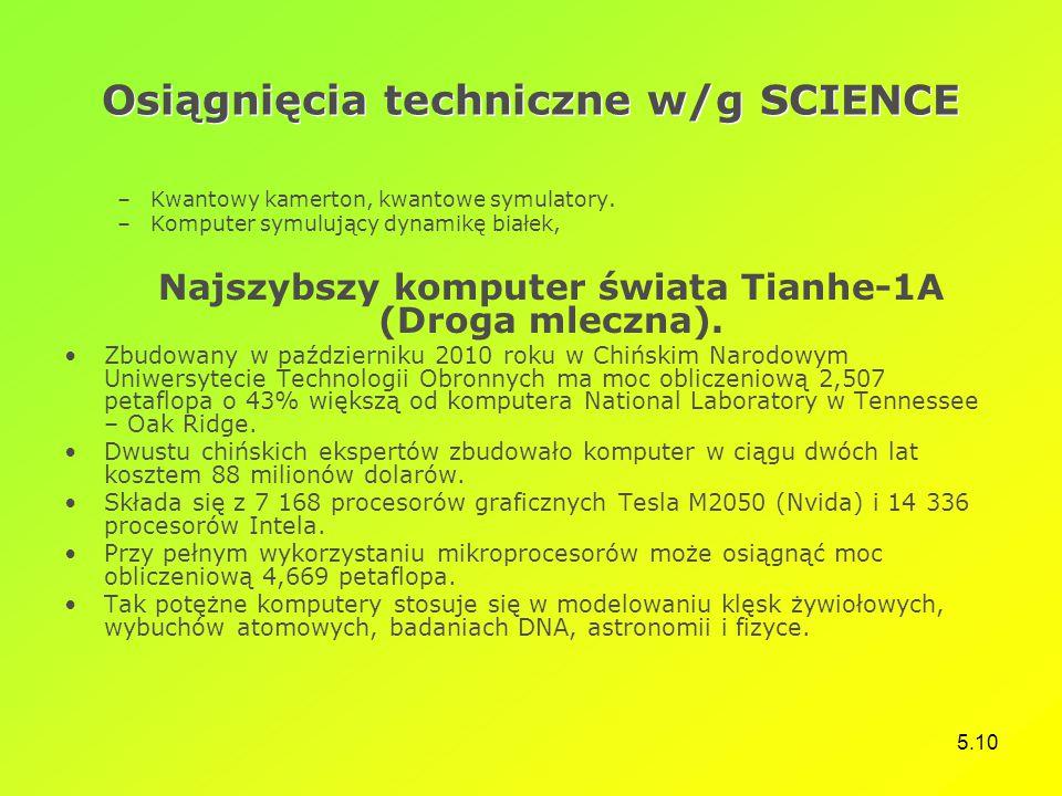 5.10 Osiągnięcia techniczne w/g SCIENCE –Kwantowy kamerton, kwantowe symulatory. –Komputer symulujący dynamikę białek, Najszybszy komputer świata Tian