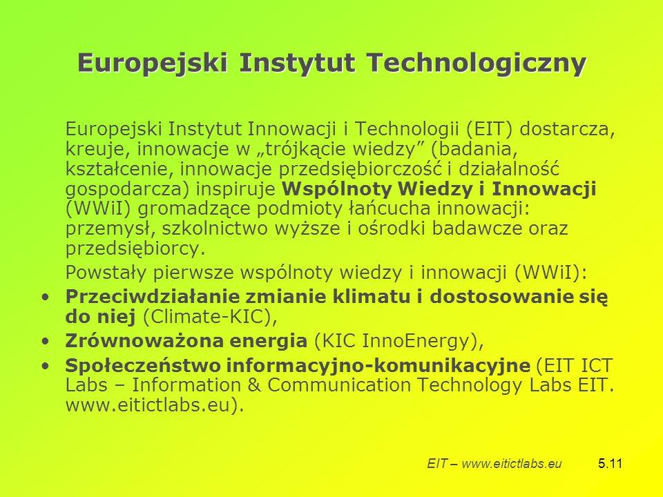 """5.11 Europejski Instytut Technologiczny Europejski Instytut Innowacji i Technologii (EIT) dostarcza, kreuje, innowacje w """"trójkącie wiedzy (badania, kształcenie, innowacje przedsiębiorczość i działalność gospodarcza) inspiruje Wspólnoty Wiedzy i Innowacji (WWiI) gromadzące podmioty łańcucha innowacji: przemysł, szkolnictwo wyższe i ośrodki badawcze oraz przedsiębiorcy."""