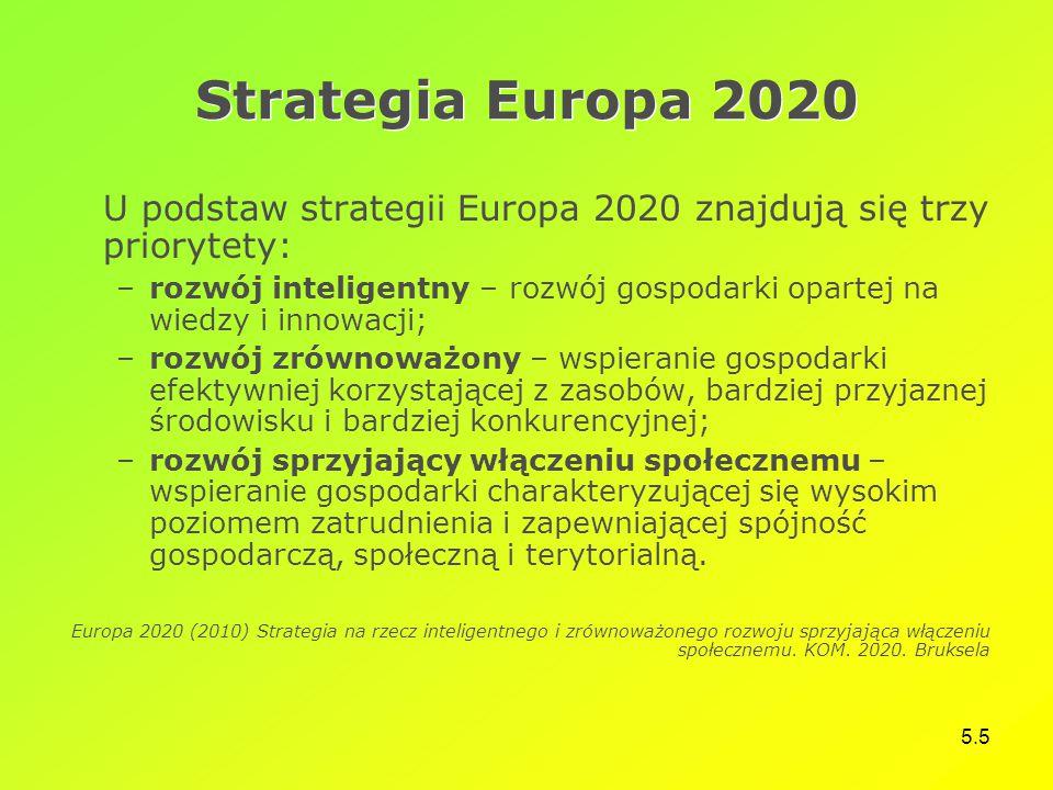 5.5 Strategia Europa 2020 U podstaw strategii Europa 2020 znajdują się trzy priorytety: –rozwój inteligentny – rozwój gospodarki opartej na wiedzy i innowacji; –rozwój zrównoważony – wspieranie gospodarki efektywniej korzystającej z zasobów, bardziej przyjaznej środowisku i bardziej konkurencyjnej; –rozwój sprzyjający włączeniu społecznemu – wspieranie gospodarki charakteryzującej się wysokim poziomem zatrudnienia i zapewniającej spójność gospodarczą, społeczną i terytorialną.