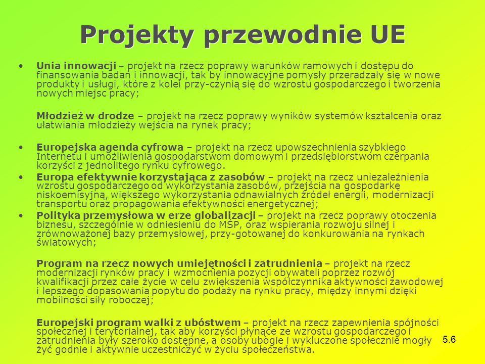 5.6 Projekty przewodnie UE Unia innowacji – projekt na rzecz poprawy warunków ramowych i dostępu do finansowania badań i innowacji, tak by innowacyjne