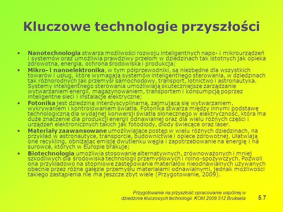 5.7 Kluczowe technologie przyszłości Nanotechnologia stwarza możliwości rozwoju inteligentnych napo- i mikrourządzeń i systemów oraz umożliwia prawdziwy przełom w dziedzinach tak istotnych jak opieka zdrowotna, energia, ochrona środowiska i produkcja; Mikro- i nanoelektronika, w tym półprzewodniki, są niezbędne dla wszystkich towarów i usług, które wymagają systemów inteligentnego sterowania, w dziedzinach tak różnorodnych jak przemysł samochodowy, transport, lotnictwo i astronautyka.