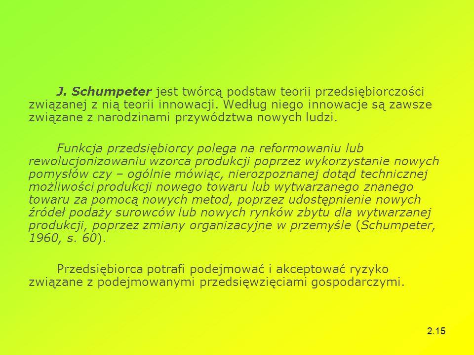 2.15 J. Schumpeter jest twórcą podstaw teorii przedsiębiorczości związanej z nią teorii innowacji. Według niego innowacje są zawsze związane z narodzi