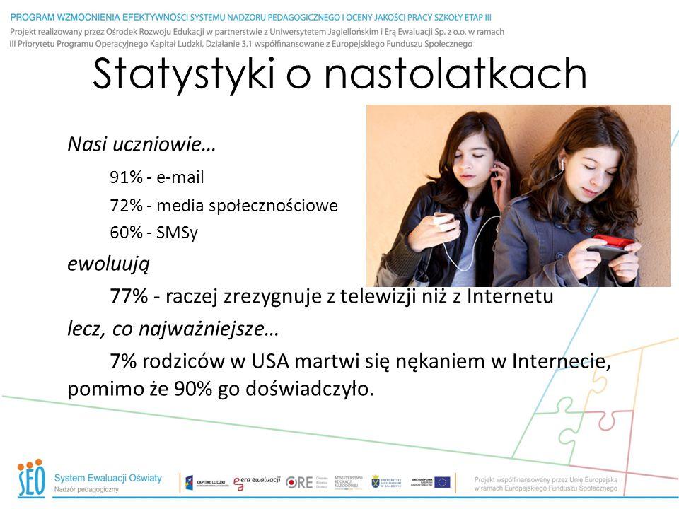 Statystyki o nastolatkach Nasi uczniowie… 91% - e-mail 72% - media społecznościowe 60% - SMSy ewoluują 77% - raczej zrezygnuje z telewizji niż z Inter
