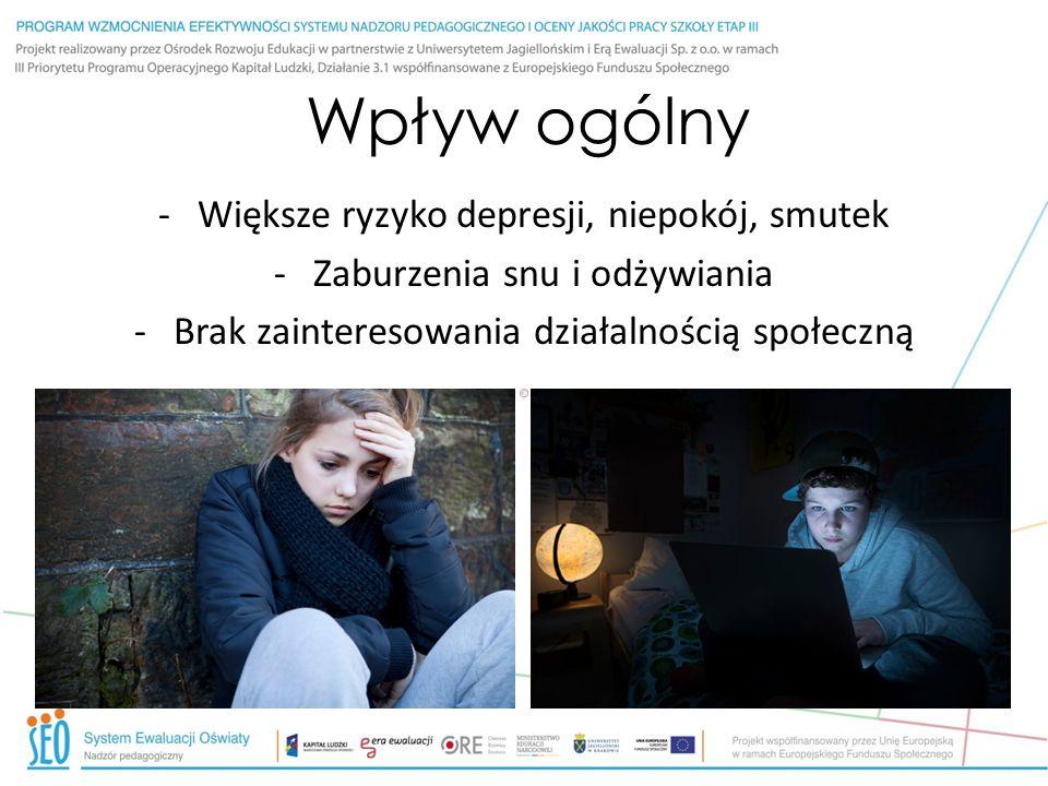 Wpływ ogólny -Większe ryzyko depresji, niepokój, smutek -Zaburzenia snu i odżywiania -Brak zainteresowania działalnością społeczną