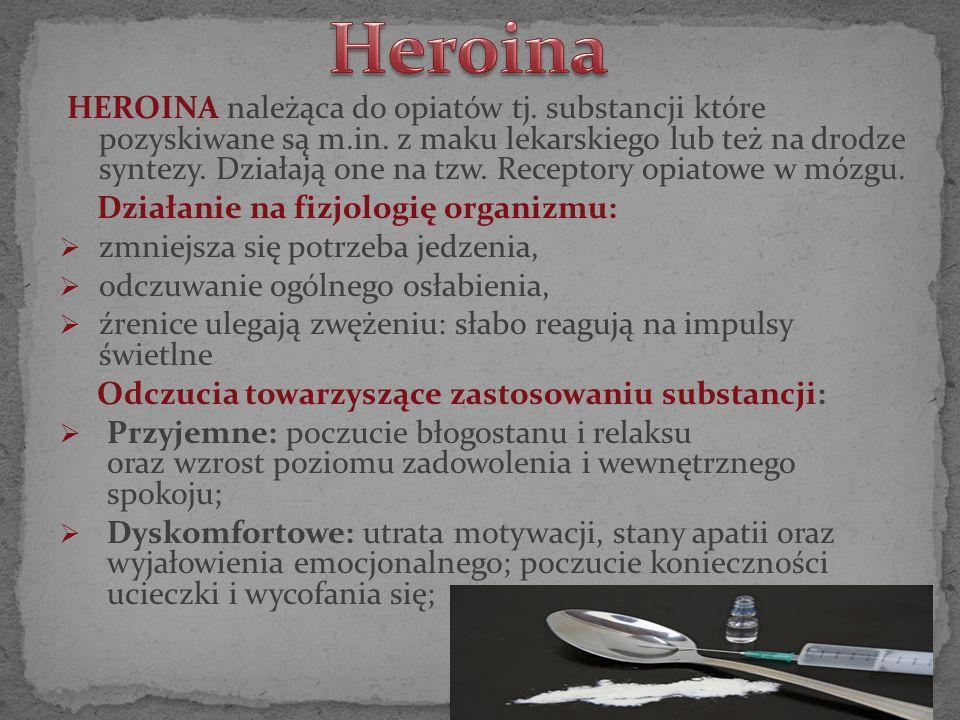 HEROINA należąca do opiatów tj. substancji które pozyskiwane są m.in. z maku lekarskiego lub też na drodze syntezy. Działają one na tzw. Receptory opi