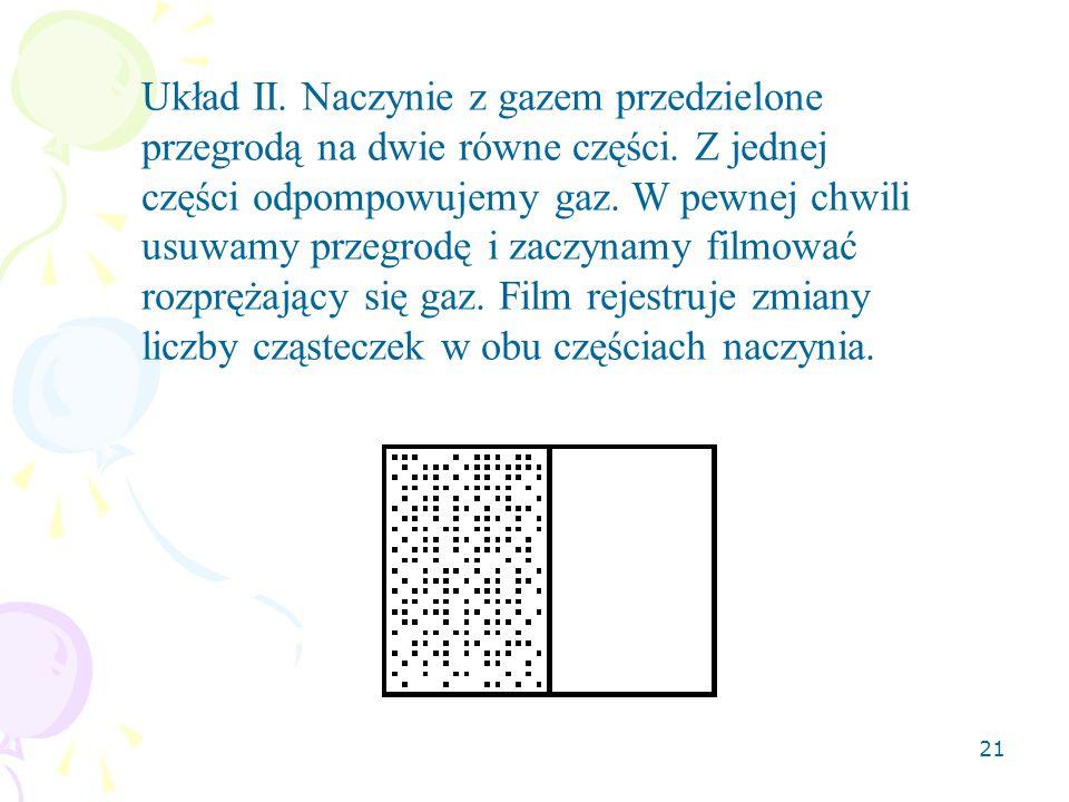 21 Układ II.Naczynie z gazem przedzielone przegrodą na dwie równe części.