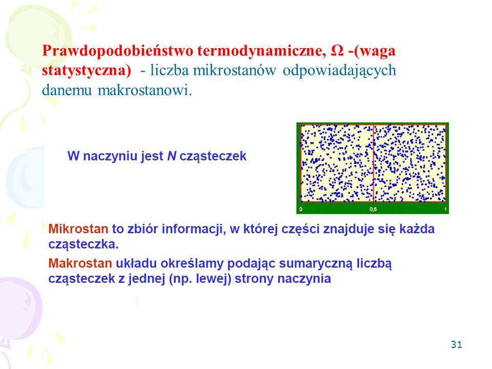 31 Prawdopodobieństwo termodynamiczne, Ω -(waga statystyczna) - liczba mikrostanów odpowiadających danemu makrostanowi.