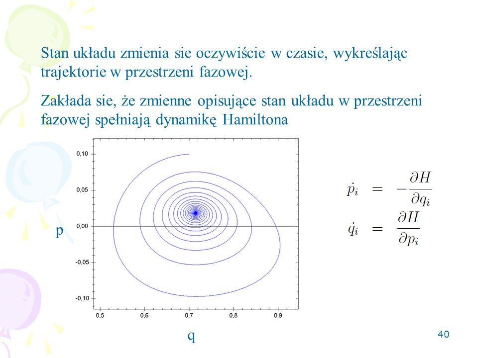 40 Stan układu zmienia sie oczywiście w czasie, wykreślając trajektorie w przestrzeni fazowej.