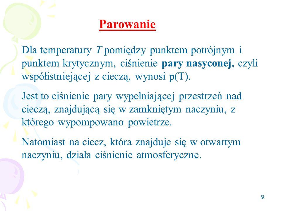 9 Dla temperatury T pomiędzy punktem potrójnym i punktem krytycznym, ciśnienie pary nasyconej, czyli współistniejącej z cieczą, wynosi p(T).