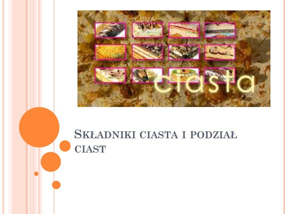 CIASTA Mieszaniny produktów spożywczych składające się głównie z mąki, przerobionej wraz z innymi składnikami na jednolitą masę o różnej konsystencji