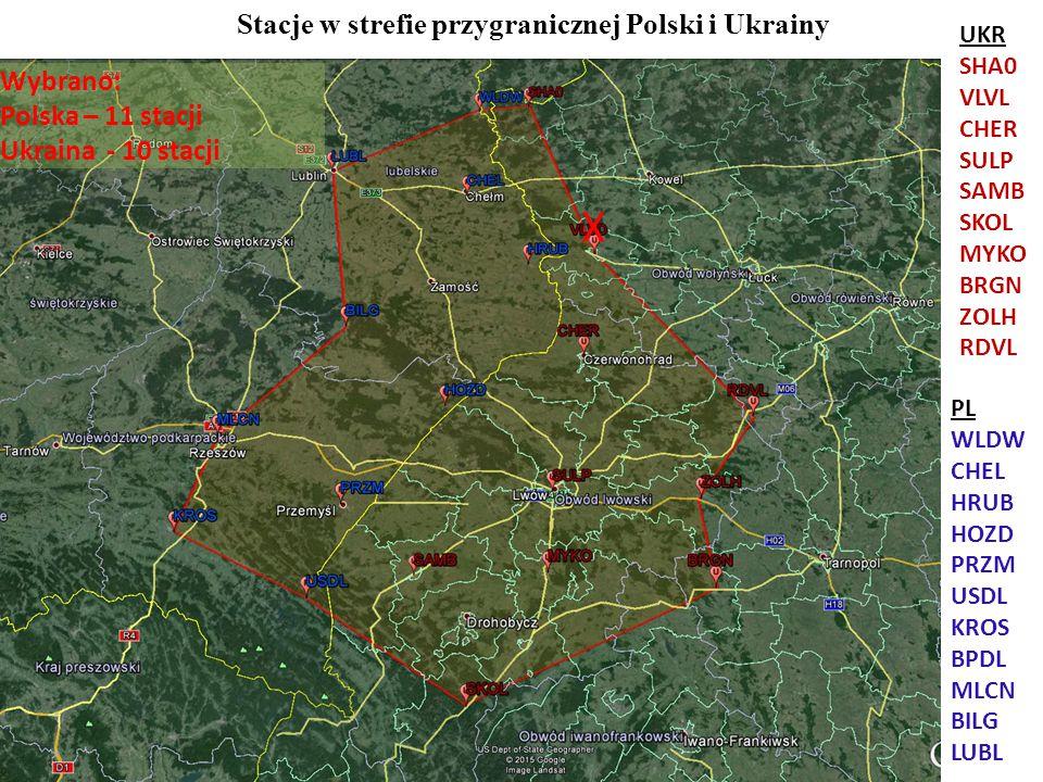 Stacje w strefie przygranicznej Polski i Ukrainy Wybrano: Polska – 11 stacji Ukraina - 10 stacji X UKR SHA0 VLVL CHER SULP SAMB SKOL MYKO BRGN ZOLH RD