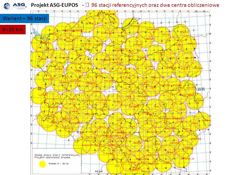 Projekt ASG-EUPOS -  96 stacji referencyjnych oraz dwa centra obliczeniowe Wariant – 96 stacji R=35 km