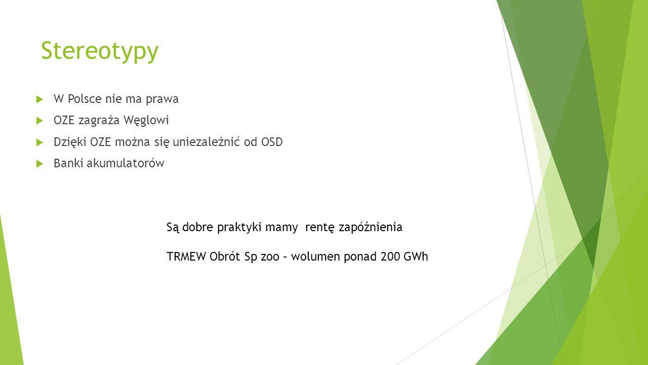 Stereotypy  W Polsce nie ma prawa  OZE zagraża Węglowi  Dzięki OZE można się uniezależnić od OSD  Banki akumulatorów Są dobre praktyki mamy rentę