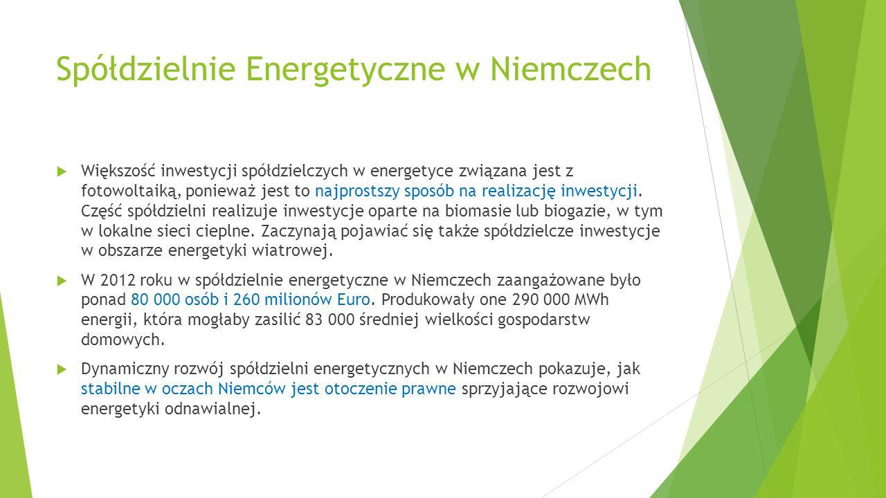 Spółdzielnie Energetyczne w Niemczech  Większość inwestycji spółdzielczych w energetyce związana jest z fotowoltaiką, ponieważ jest to najprostszy sp
