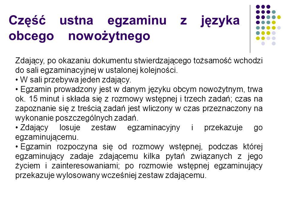 Część ustna egzaminu z języka obcego nowożytnego Zdający, po okazaniu dokumentu stwierdzającego tożsamość wchodzi do sali egzaminacyjnej w ustalonej kolejności.