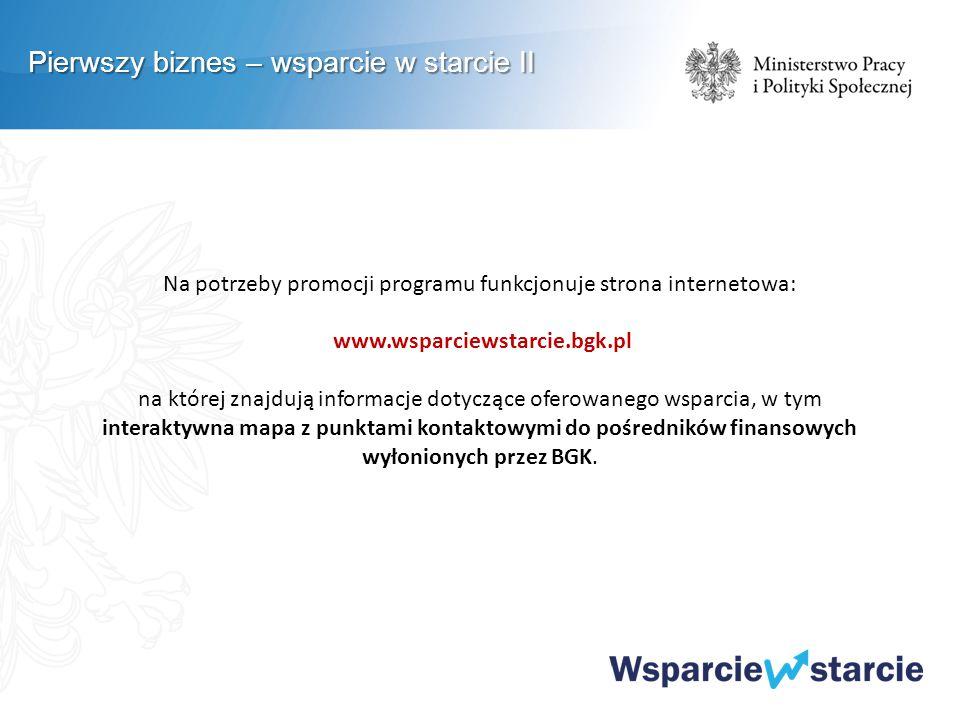 Na potrzeby promocji programu funkcjonuje strona internetowa: www.wsparciewstarcie.bgk.pl na której znajdują informacje dotyczące oferowanego wsparcia, w tym interaktywna mapa z punktami kontaktowymi do pośredników finansowych wyłonionych przez BGK.
