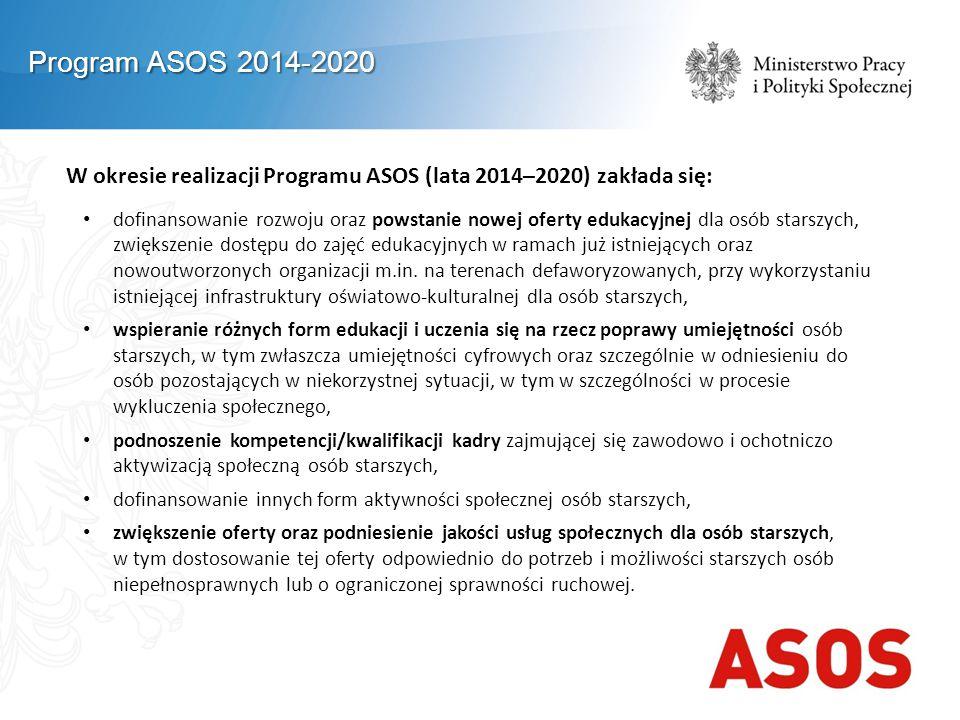 W okresie realizacji Programu ASOS (lata 2014–2020) zakłada się: dofinansowanie rozwoju oraz powstanie nowej oferty edukacyjnej dla osób starszych, zwiększenie dostępu do zajęć edukacyjnych w ramach już istniejących oraz nowoutworzonych organizacji m.in.