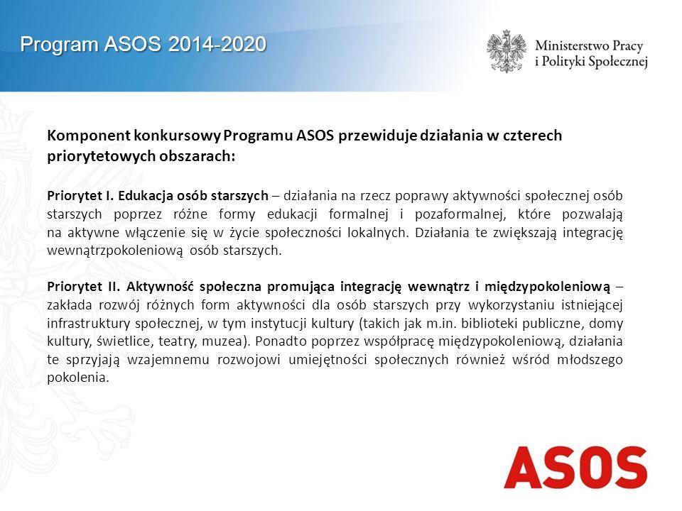 Komponent konkursowy Programu ASOS przewiduje działania w czterech priorytetowych obszarach: Priorytet I. Edukacja osób starszych – działania na rzecz