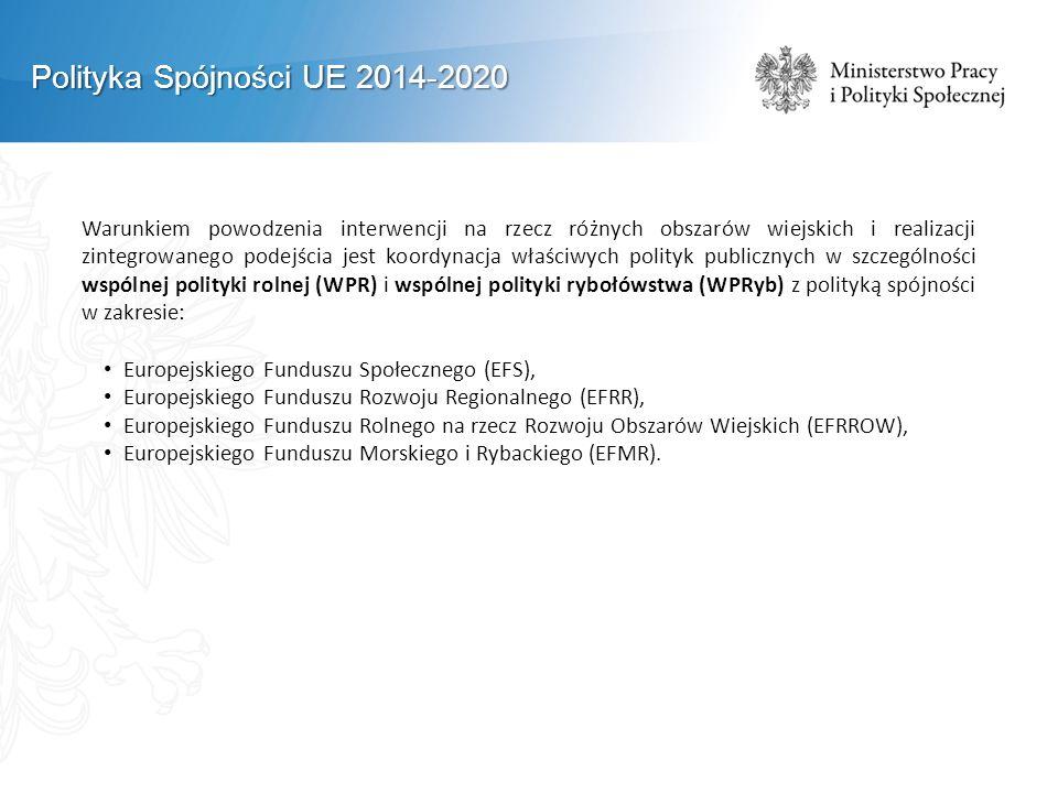 Polityka Spójności UE 2014-2020 Warunkiem powodzenia interwencji na rzecz różnych obszarów wiejskich i realizacji zintegrowanego podejścia jest koordynacja właściwych polityk publicznych w szczególności wspólnej polityki rolnej (WPR) i wspólnej polityki rybołówstwa (WPRyb) z polityką spójności w zakresie: Europejskiego Funduszu Społecznego (EFS), Europejskiego Funduszu Rozwoju Regionalnego (EFRR), Europejskiego Funduszu Rolnego na rzecz Rozwoju Obszarów Wiejskich (EFRROW), Europejskiego Funduszu Morskiego i Rybackiego (EFMR).