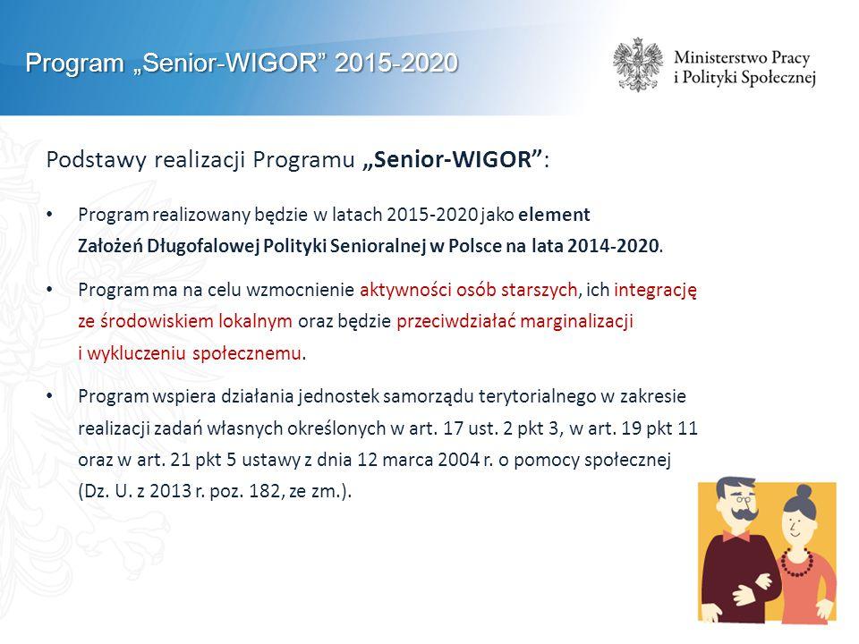 """Program """"Senior-WIGOR"""" 2015-2020 Podstawy realizacji Programu """"Senior-WIGOR"""": Program realizowany będzie w latach 2015-2020 jako element Założeń Długo"""